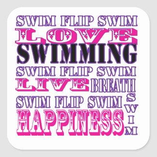 Regalos y ropa lindos de la nadada para los chicas calcomanías cuadradass