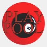 regalos y saludos de la piscina del juego pegatinas redondas