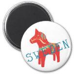 Regalos y saludos del caballo de Dala del sueco Imán Redondo 5 Cm