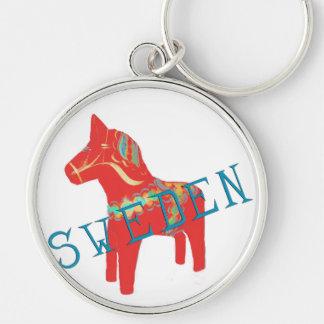 Regalos y saludos del caballo de Dala del sueco Llavero Redondo Plateado