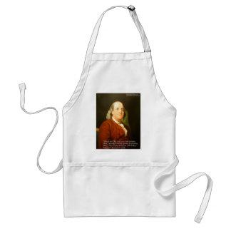 Regalos y tarjetas de la cita de Ben Franklin (cuá Delantales