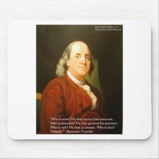 Regalos y tarjetas de la cita de Ben Franklin (cuá Alfombrilla De Ratón