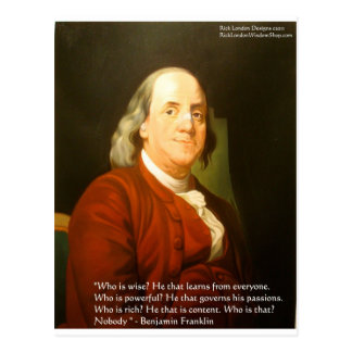 Regalos y tarjetas de la cita de Ben Franklin (cuá Tarjetas Postales