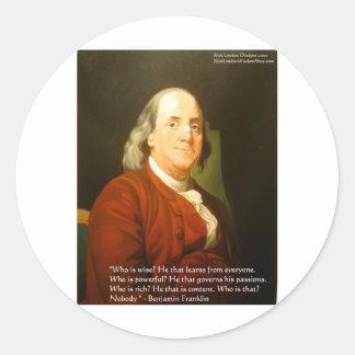 Regalos y tarjetas de la cita de Ben Franklin Pegatinas Redondas