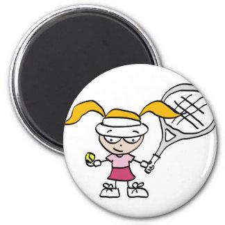 Regalos y tarjetas del tenis con el chica lindo de imanes
