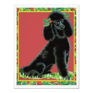 """Regalos y tarjetas negros del arte del acebo del invitación 4.25"""" x 5.5"""""""