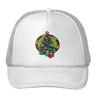 Regalos y vitral del árbol de navidad gorras de camionero