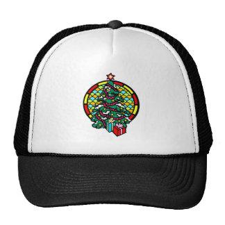 Regalos y vitral del árbol de navidad gorro