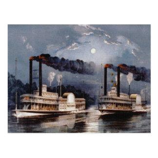 Regatas del vapor en el río Misisipi Postales