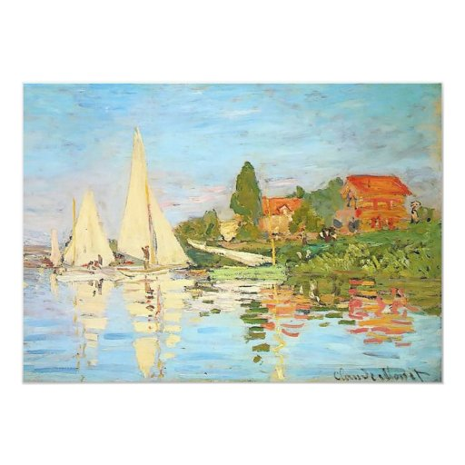 Regatta at Argenteuil by Claude Monet 5x7 Paper Invitation Card