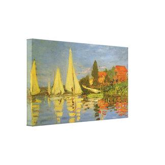 Regatta at Argenteuil by Claude Monet, Vintage Art Stretched Canvas Print