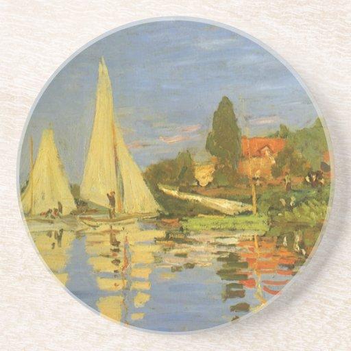 Regatta at Argenteuil by Claude Monet, Vintage Art Drink Coasters