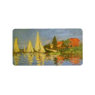 Regatta at Argenteuil by Claude Monet, Vintage Art Address Label