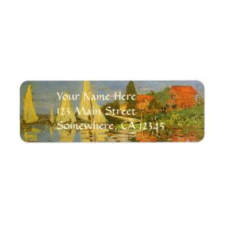 Regatta at Argenteuil by Claude Monet, Vintage Art Return Address Label