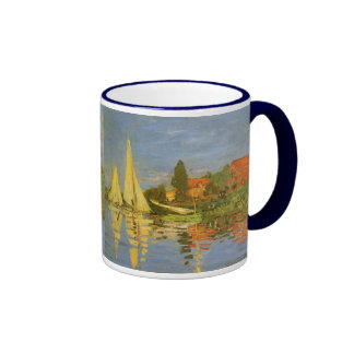 Regatta at Argenteuil by Claude Monet, Vintage Art Ringer Coffee Mug
