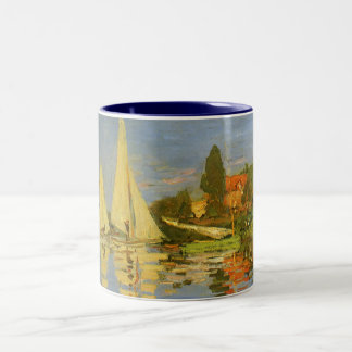 Regatta at Argenteuil by Claude Monet, Vintage Art Two-Tone Coffee Mug