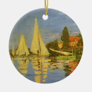 Regatta at Argenteuil by Claude Monet, Vintage Art Double-Sided Ceramic Round Christmas Ornament
