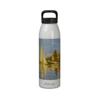 Regatta at Argenteuil by Claude Monet, Vintage Art Reusable Water Bottle