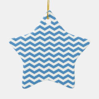 Regatta Blue And White Zigzag Chevron Pattern Ceramic Ornament