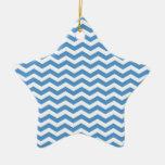 Regatta Blue And White Zigzag Chevron Pattern Ornament