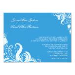 """Regatta Blue Floral Accent Wedding Invitation 5.5"""" X 7.5"""" Invitation Card"""