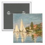 Regatta de Claude Monet el   en Argenteuil, c.1872 Pin Cuadrado