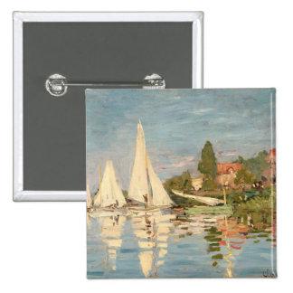 Regatta de Claude Monet el | en Argenteuil, c.1872 Pin Cuadrado