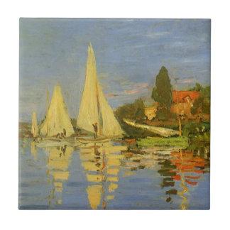 Regatta en Argenteuil de Claude Monet Azulejo Cuadrado Pequeño