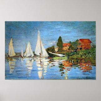 Regatta en Argenteuil, impresión de Claude Monet Posters