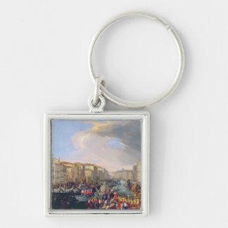 Regatta Held in Honour of Frederick VI of Denmark Silver-Colored Square Keychain