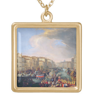 Regatta Held in Honour of Frederick VI of Denmark Square Pendant Necklace
