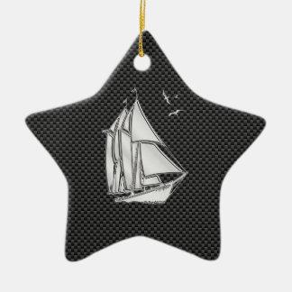 Regatta Sailboat on Carbon Fiber Style Ceramic Ornament