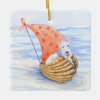 Regatta Wheaten Scottie Sailor Ceramic Ornament