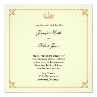 """Regencia de la corona en el boda del oro y de la invitación 5.25"""" x 5.25"""""""