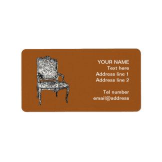 Regency chair in brown label