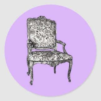 Regency chair in lavender classic round sticker