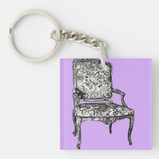 Regency chair in lavender Double-Sided square acrylic keychain