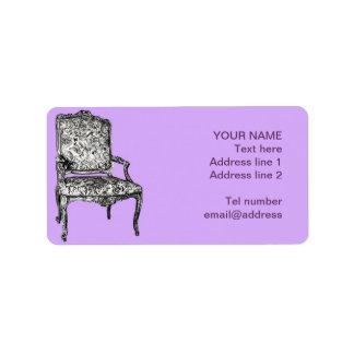 Regency chair in lavender label