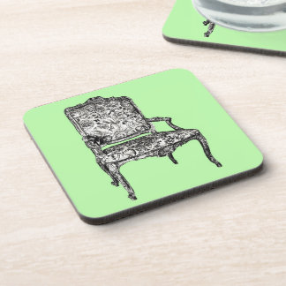 Regency chair in lime green beverage coaster