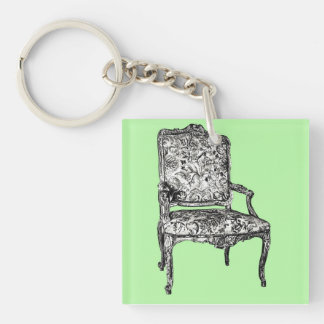 Regency chair in lime green Double-Sided square acrylic keychain