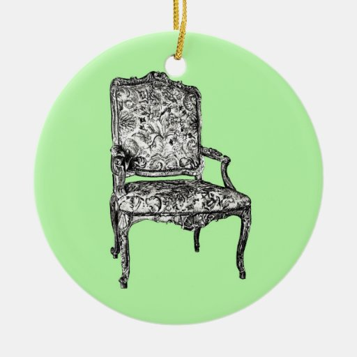 Regency chair in lime green christmas tree ornaments