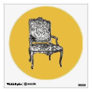 Regency chair in mustard yellow wall sticker