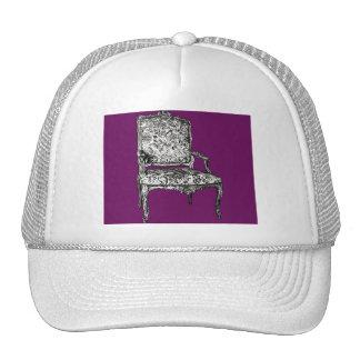 Regency chair in purple trucker hat