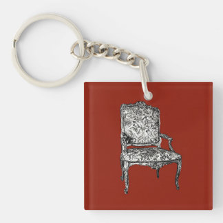 Regency chair in red Double-Sided square acrylic keychain