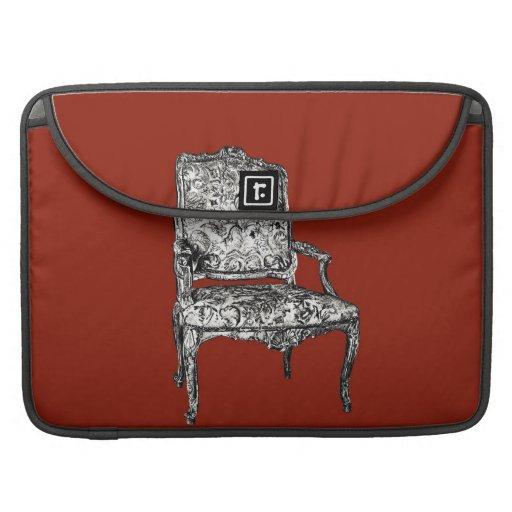 Regency chair in red MacBook pro sleeves