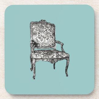 Regency chair in turquoise beverage coaster