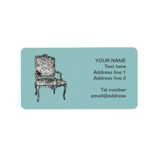 Regency chair in turquoise custom address labels