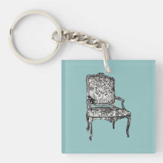 Regency chair in turquoise keychain