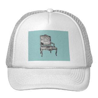 Regency chair in turquoise trucker hat