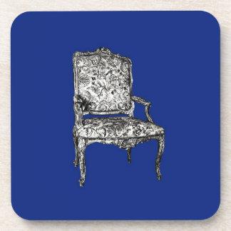 Regency chairs in dark blue drink coaster
